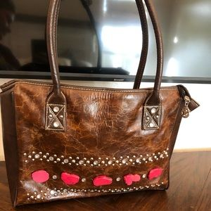 Vintage Country Road brown purse with red stones